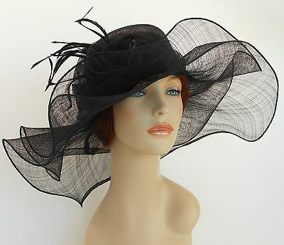 New Church Derby Wedding Sinamay 2 Layers Dress Hat S10-2213 Black