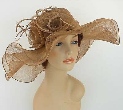 New Church Derby Wedding Sinamay 2 Layers Dress Hat S10-2213 Taupe