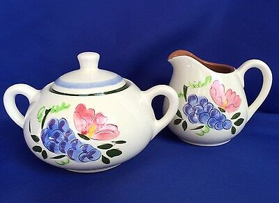 Stangl Fruit And Flowers Creamer And Sugar Bowl Set Pattern Coffee VTG Pottery
