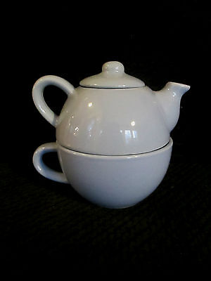 TEA FOR ONE SET Pier 1 Imports Baby Blue Stack-able Stoneware  - Teapot and Mug