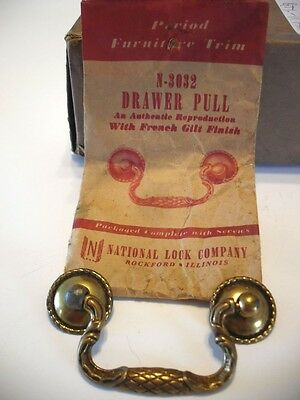 Vintage NOS Drawer Drop Bale Pulls French Gilt Antique Brass Plated Steel