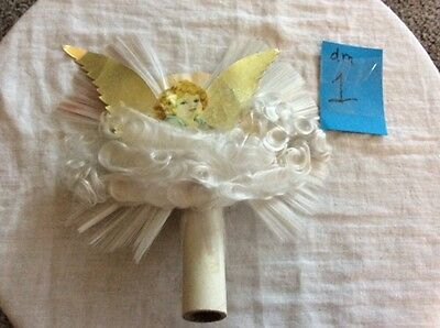 Vintage Angel Cardboard and Synthetic Hair Tree Topper