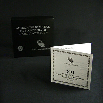 2011-P America The Beautiful Glacier ATB 5 Oz Box OGP & COA No Coin