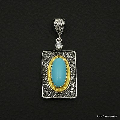 Big Rare Turquoise Byzantine 925 Sterling Silver & 22K Gold Plated Greek Pendant