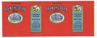 French Opera spices, can label, American Coffee Co., New Orleans