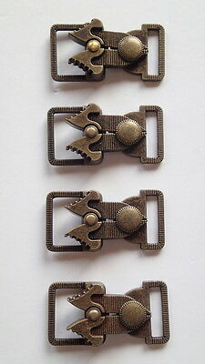 SET OF 4 BRONZE METAL CLASP CLOSURES FASTENER LOBSTER CLASPS  2 ''x1 1/4'