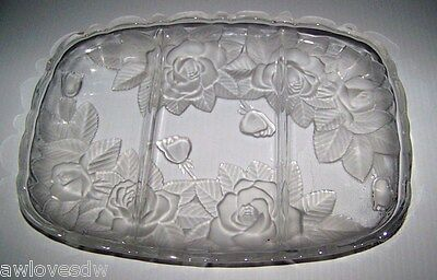 MIKASA STUDIO NOVA WINTER ROSE FROSTED GLASS SERVING DISH DINNER PLATTER TRAY