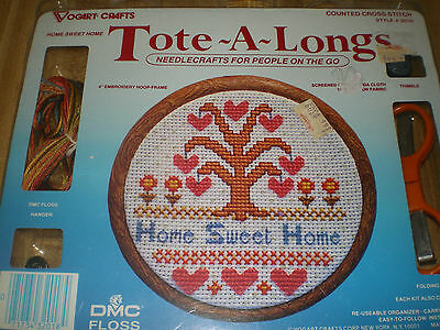 """Counted Cross Stitch Kit by Vogart Crafts Tote A Longs """"Home Sweet Home""""  NEW"""