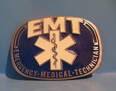 Beautiful EMT belt buckle pewter Blue and white enamel Gift Free Shipping USA