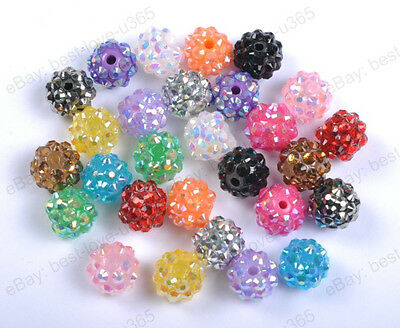 10Pcs Sparkling RESIN Rhinestones Round Ball Spacer BEADS - Choose 12MM 14MM