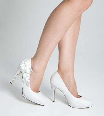Wedding Shoes Bridal Prom Night High Heel Ladies Shoes - White - Size 5  SECONDS