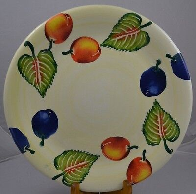 """Large Dinner Chop Plate Varm """"Disegno"""" 12"""" fruit blue green red/yellow Italy"""