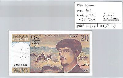 Billet France - 20 Francs 1980 - Très Rare - A 005 !!!