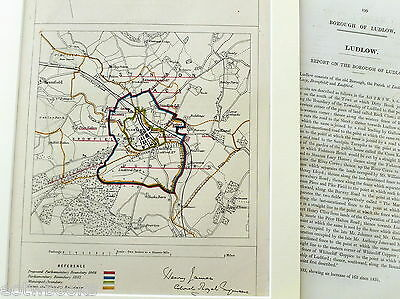 LUDLOW - Antique Map / Plan, in mount,  Boundary Commissioners Report - 1868
