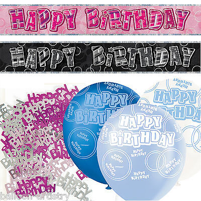 Black Silver Pink Blue Glitz Boy Girls Birthday Banner Party Decoration Pack Kit