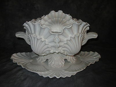 Mottahedeh Ceramic Tureen with Lid and Under Plate, Shell Pattern