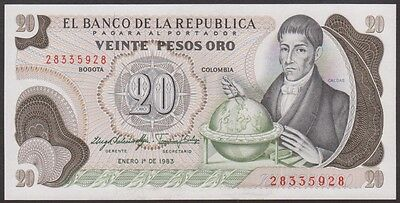 COLOMBIA  20   PESOS  ORO 1983   P 409d  Uncirculated Banknotes