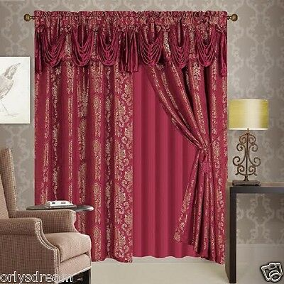 NEW 6 Pc. Victorian Style Jacquard Curtain Set 2 Panels,Valance & Liner-BURGUNDY