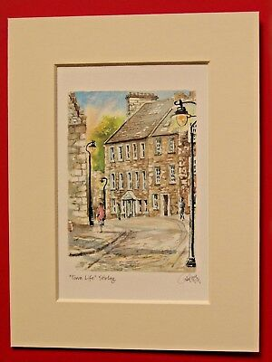 DUNFERMLINE ABBEY GARDEN IN SUMMER SCOTLAND CHARMING MOUNTED WATER COLOUR PRINT
