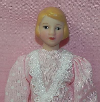 Dollhouse Miniature Doll Mom Mother Pink & White Dress Porcelain 1:12 Scale