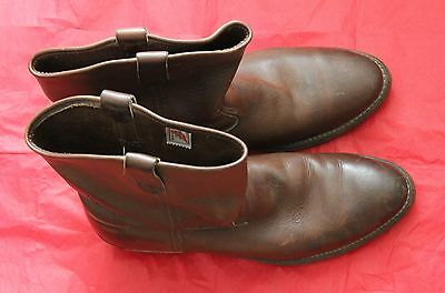 RED WING BROWN LEATHER WORK BOOT SIZE 12   (00398)