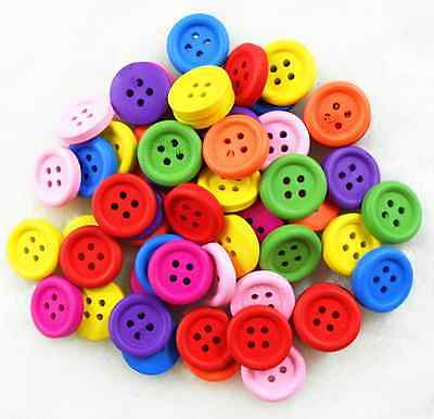 30pcs  15mm Wooden Mixed Color  Buttons Fit Sewing and Scrapbook Free Ship