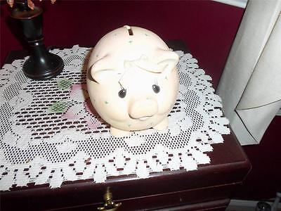 VINTAGE HAND PAINTED PIGGY BANK VERY OLD UNKNOWN MAKER