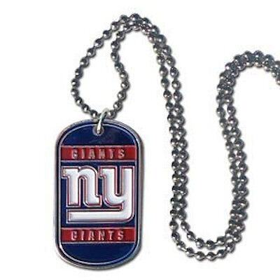 """NEW! New York Giants Stainless Steel Enameled Dog Tag Necklace Tornado 36"""""""