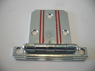 Vintage NOS CHROME Cabinet HINGE w RED Lines Stripes & Stepped Edges Flush Mount