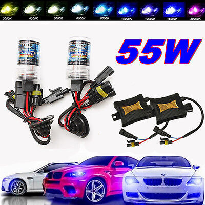 2pcs 55W HID Xenon Conversion Headlight KIT Bulb+Ballast H1 H3 H4 H7 H8 H9 H11