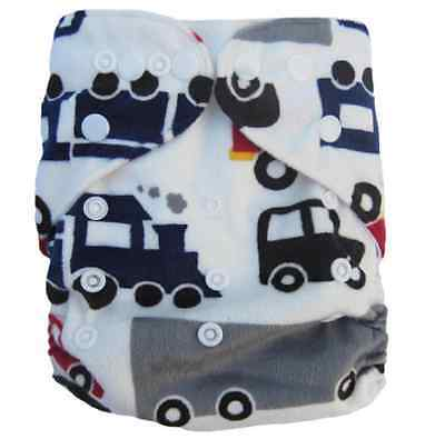 Modern Cloth Reusable Washable Baby Nappy Diaper & Insert, Cars, Trucks, Trains