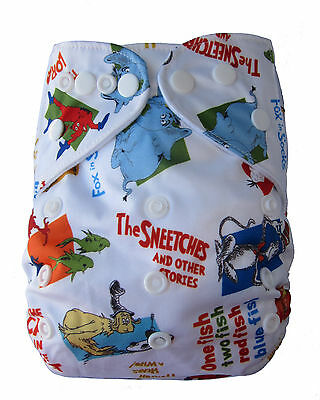 Modern Cloth Reusable Washable Baby Nappy Diaper & Insert, Dr Susess Words