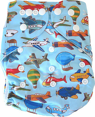 Modern Cloth Reusable Washable Baby Nappy Diaper & Insert, New Planes