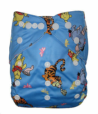 Modern Cloth Reusable Washable Baby Nappy Diaper & Insert, Winnie the pooh bear