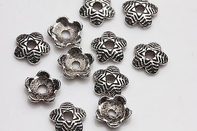 100pcs Tibet silver Carving Flower Bead Caps Pendant Jewelry Finding 6X1.5MM