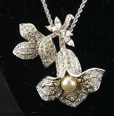 JBK Jackie Bouvier Kennedy Pendant Necklace with Crystals & Pearl Flower
