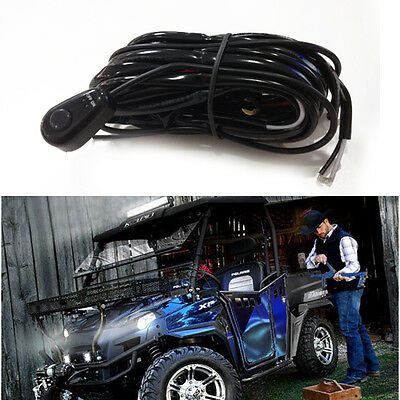 2 in 1 LED Car Driving Light Work Light Harness Relay Kit w On/Off Switch 3.5 M