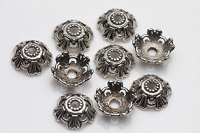 50pcs Tibet silver Flower Spacer Beads Caps Pendant Jewelry Finding 8X3MM