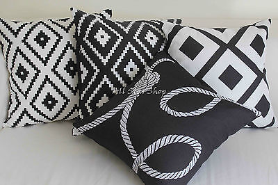 Art Deco Vintage Black and White Set Home Linen CUSHION COVER PILLOW CASE 18""
