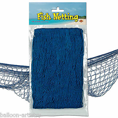 12ft x 4ft Tropical Pirate Luau Party Decorative BLUE Fish Fishing Net Netting