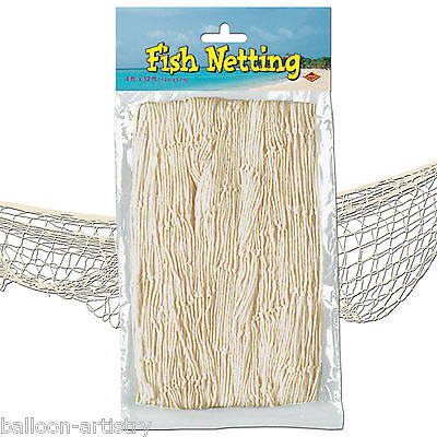 12ft x 4ft Tropical Pirate Luau Party Decorative WHITE Fish Fishing Net Netting