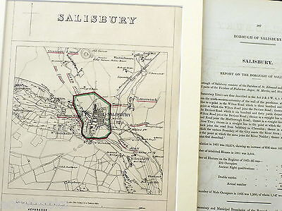 SALISBURY - Antique Map / Plan, in mount,  Boundary Commissioners Report, 1868