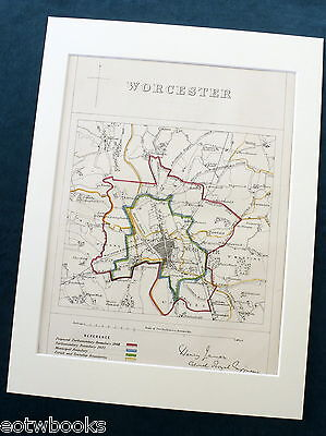 WORCESTER - Antique Map / Plan, in mount,  Boundary Commissioners Report, 1868
