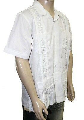 NWT MENS WHITE GUAYABERA  WEDDING CIGAR  BARTENDER  SHIRT  SIZES  S-2XL