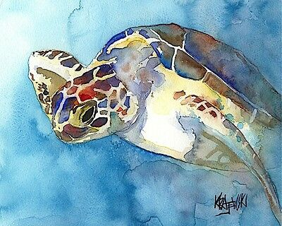 Sea Turtle 8x10 signed art PRINT from painting RJK