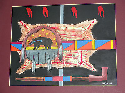 "Plains American Indian Painting ""BEAR SHEILD, ROBE & PIPE"" 1986 MARK REDFOX"