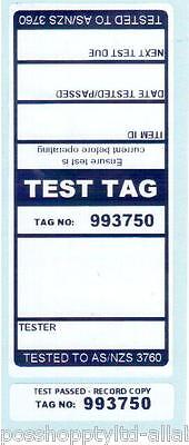 250 x BLUE Premium Electrical Adhesive Test Tag Labels