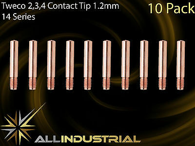 MIG Contact Tip - Tweco 2 3 4  1.2mm Tweco Style - 1/4unf x 6mm x 38mm (10 Pack)