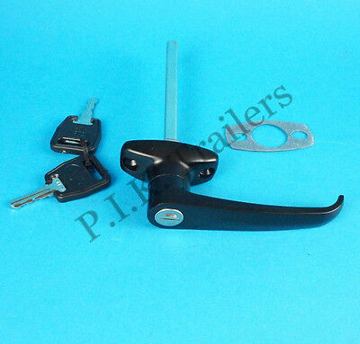 Black L Handle with 2 Keys for Horse Box & Caravans & Trailers