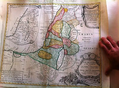Antique HOLY LAND Map , Homann 1750 , Hand Color ,12 Tribes, Palestine , Israel